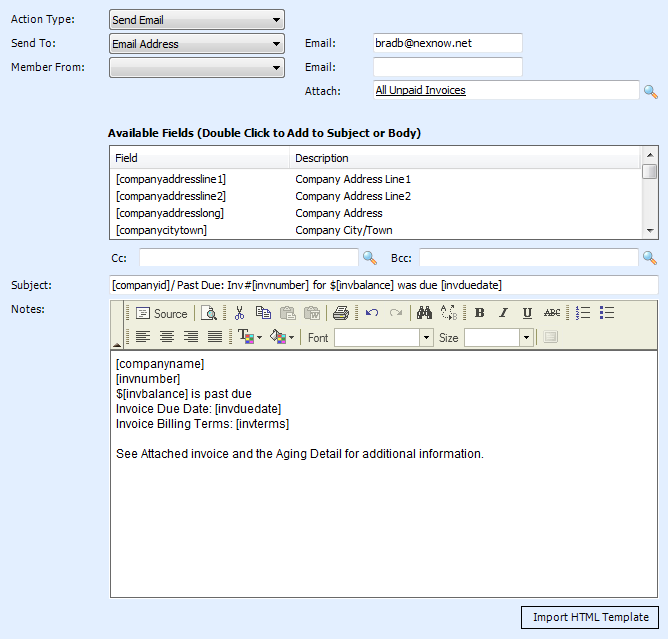 NexNow ConnectWise Integrations Custom Reporting And Data Tools - Past due invoice email template