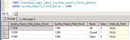 System Report Field 2